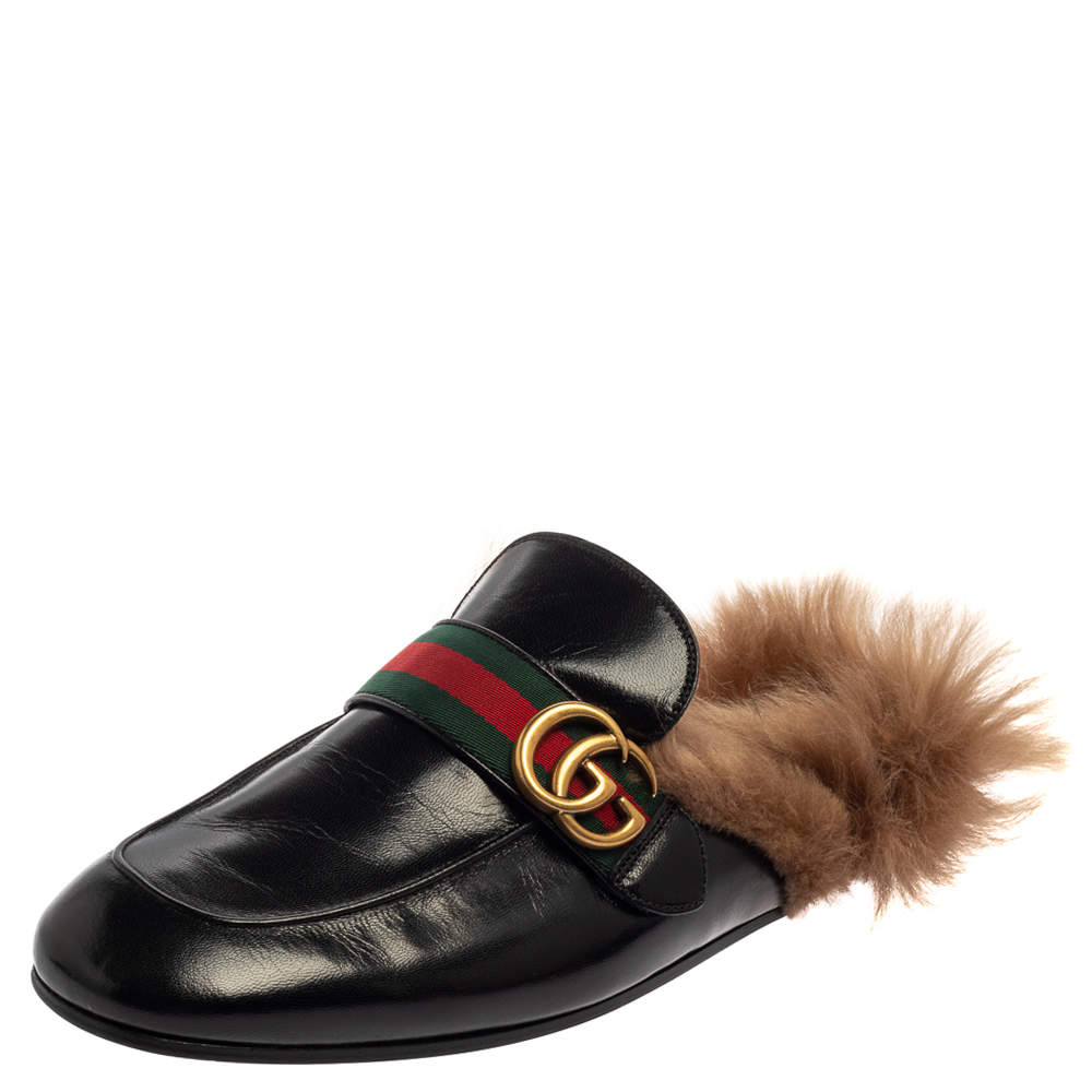 Gucci Black Leather And Fur Lined GG Web Princetown Mules Size 43