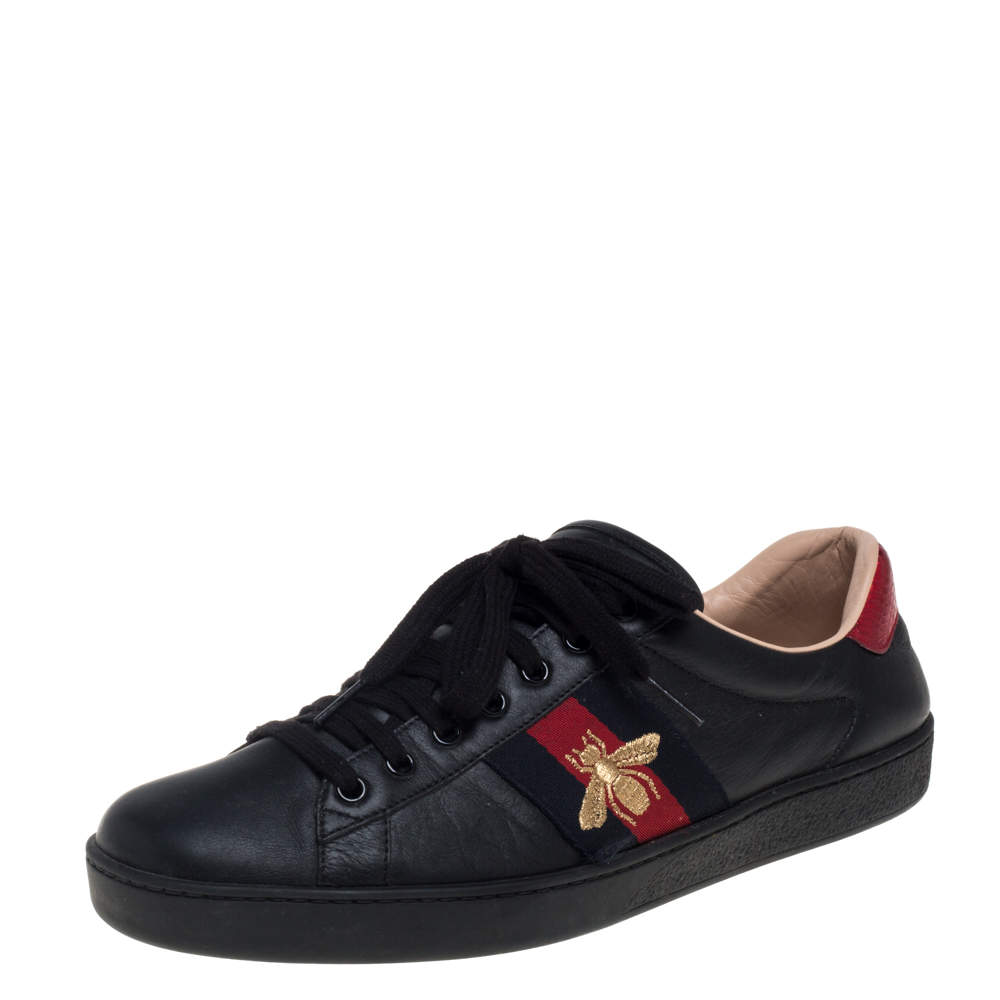 Gucci Black Leather Ace Web Sneakers Size 42.5