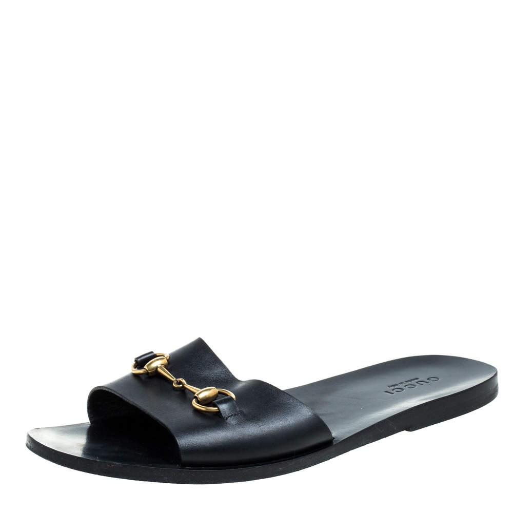 Gucci Black Leather Horsebit Slides Sandals Size 43.5