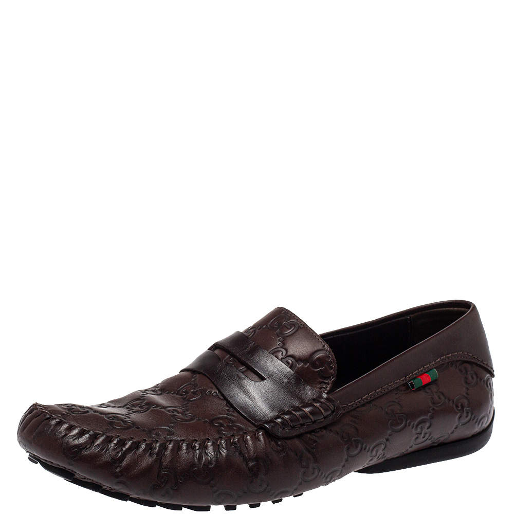 Gucci Brown Guccissima Leather Penny Loafer Size 41