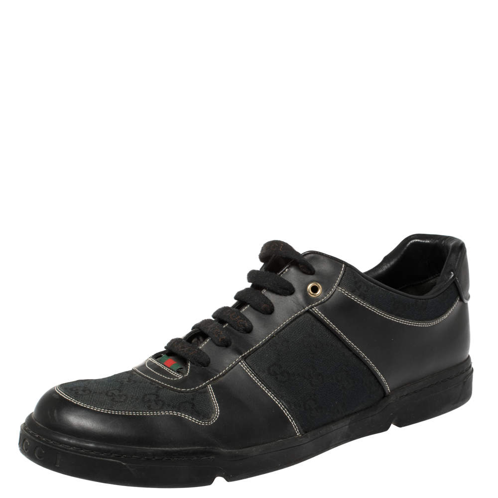 Gucci Black GG Canvas and Leather Low Top Sneakers Size 46.5