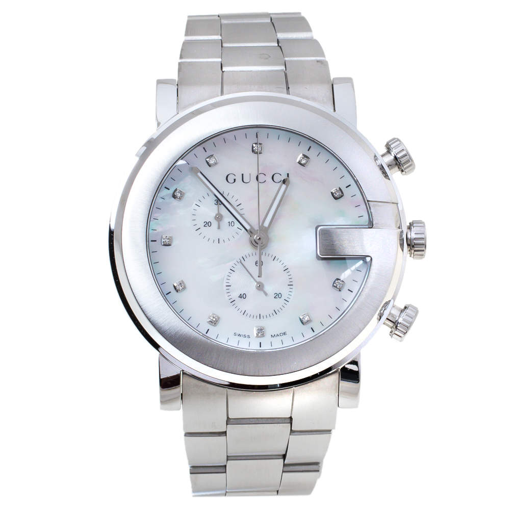 Gucci Mother of Pearl Stainless Steel Diamond G-Chrono 101M Women's Wristwatch 44 mm