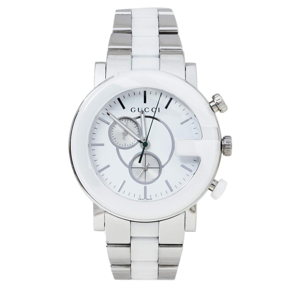 Gucci White Ceramic & Stainless Steel G Chrono 101M Men's Wristwatch 42 mm