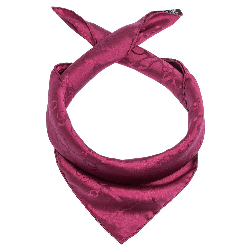 Hermes Magenta Horsebit Pattern Silk Jacquard Pocket Square