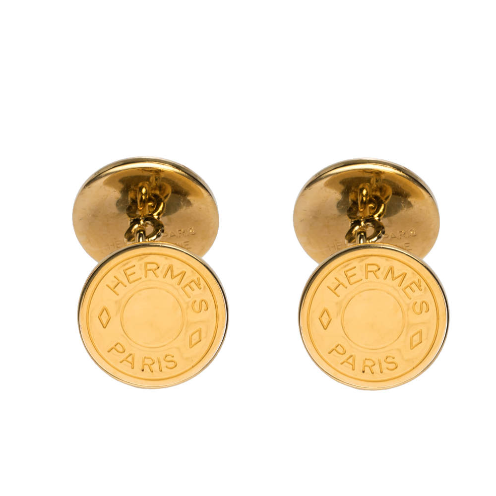 Hermes Selle Bijouterie Fantaisie Gold Plated Round Cufflinks
