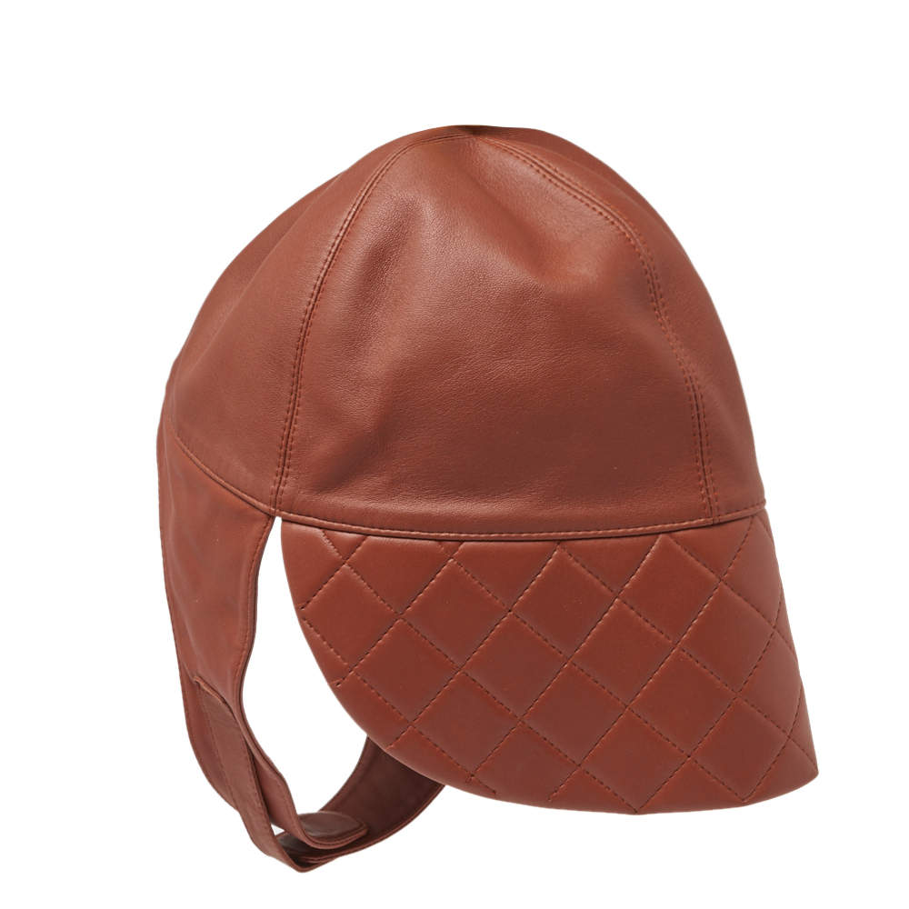 Hermes Brown Leather Aviator Cap (Size 56)