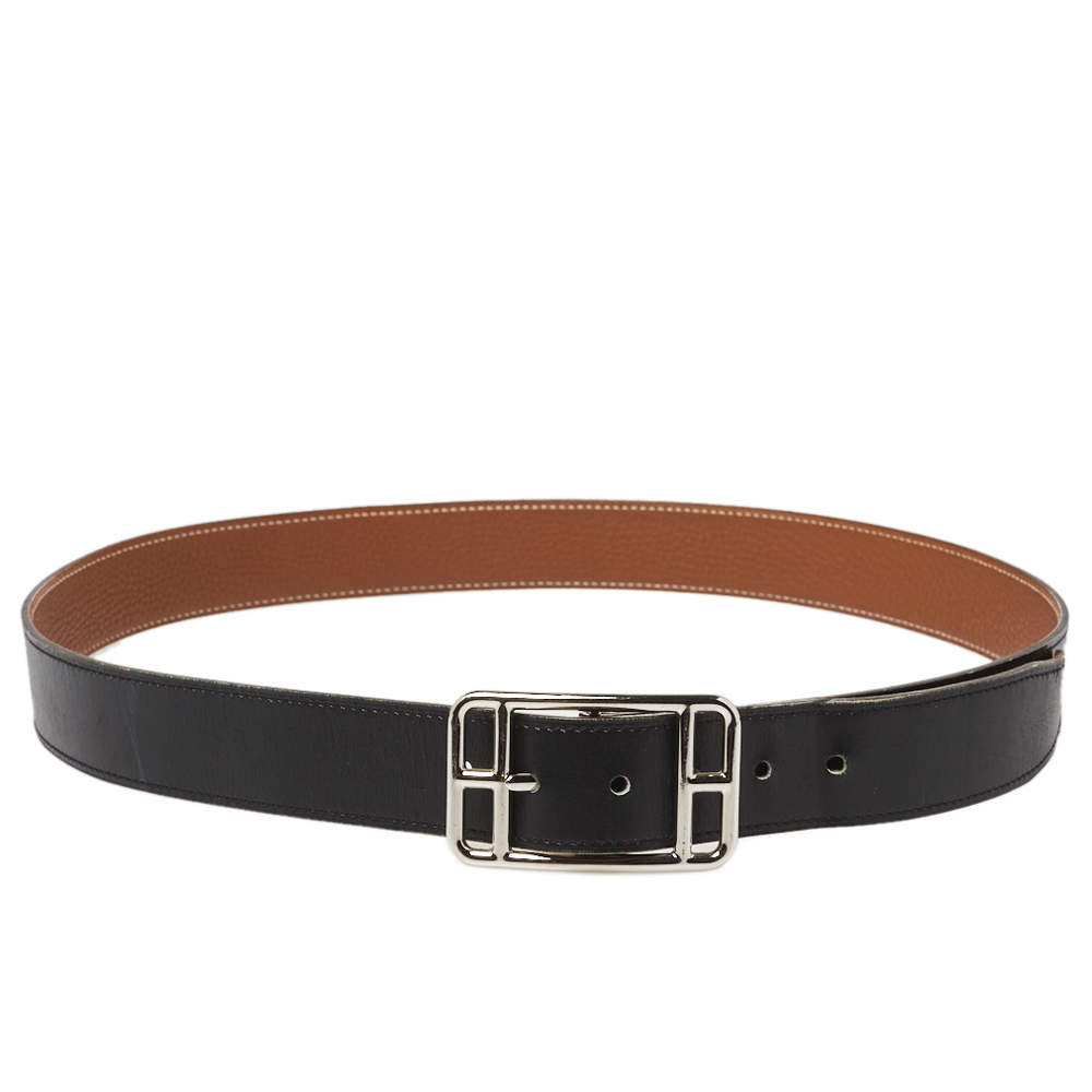 Hermes Noir/Gold Box and Togo Leather Cape Cod Reversible Belt 95 CM
