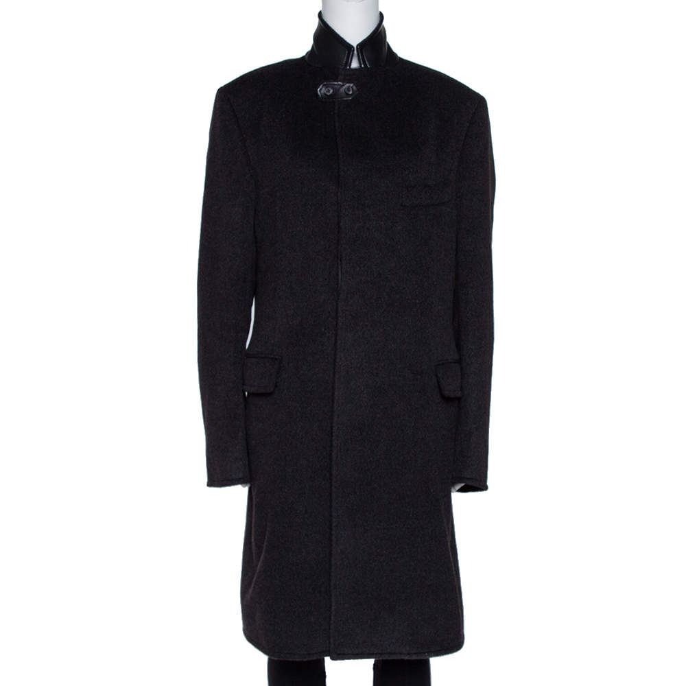 Hermes Anthracite Cashmere & Leather Trim Liverpool Mid Length Coat M