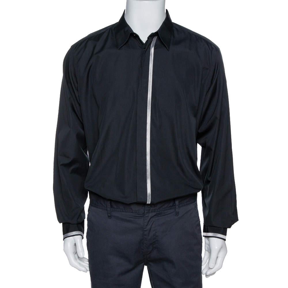 Hermes Black Cotton Stripe Detail Long Sleeve Shirt XXL