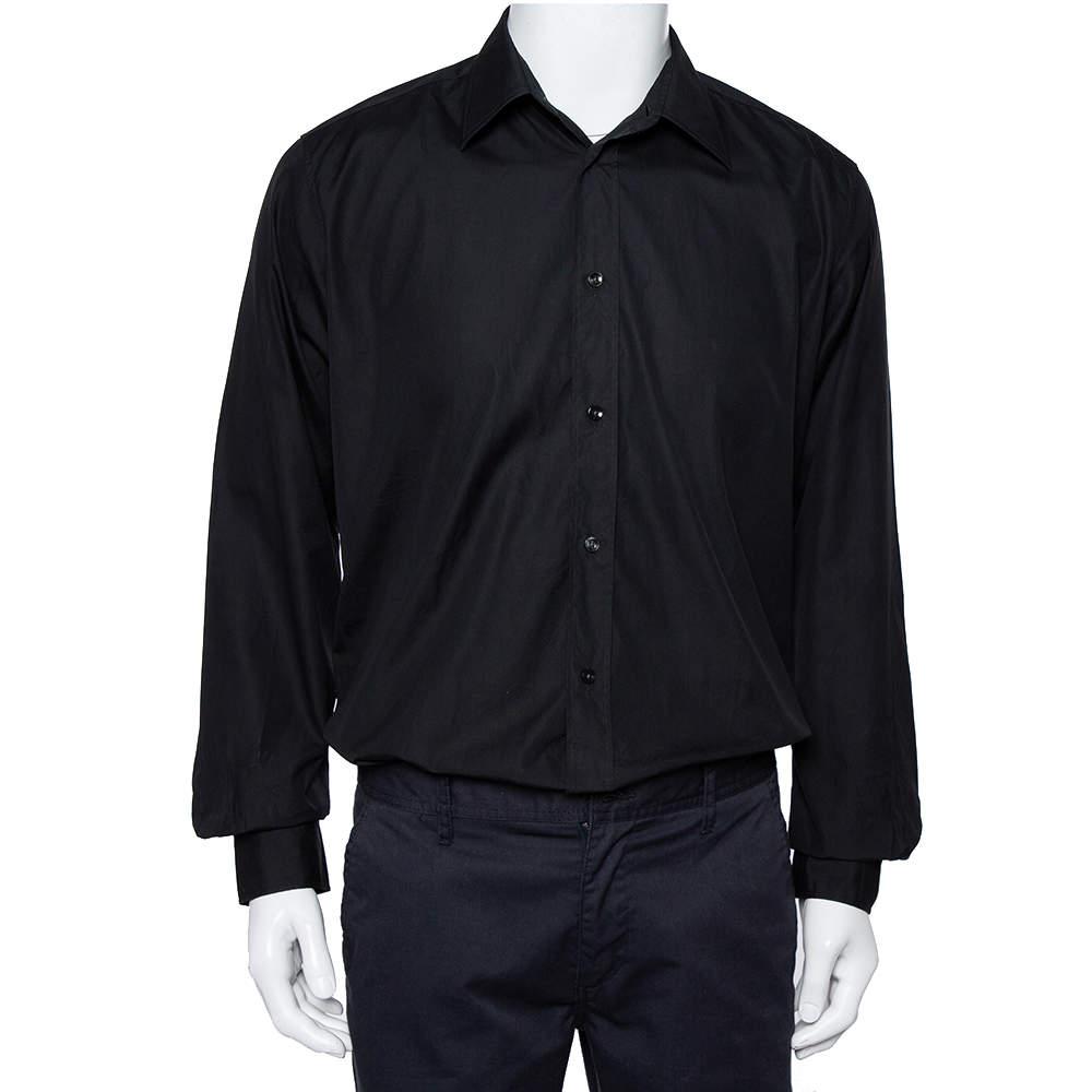 Hermes Black Cotton Button Front Long Sleeve Shirt L