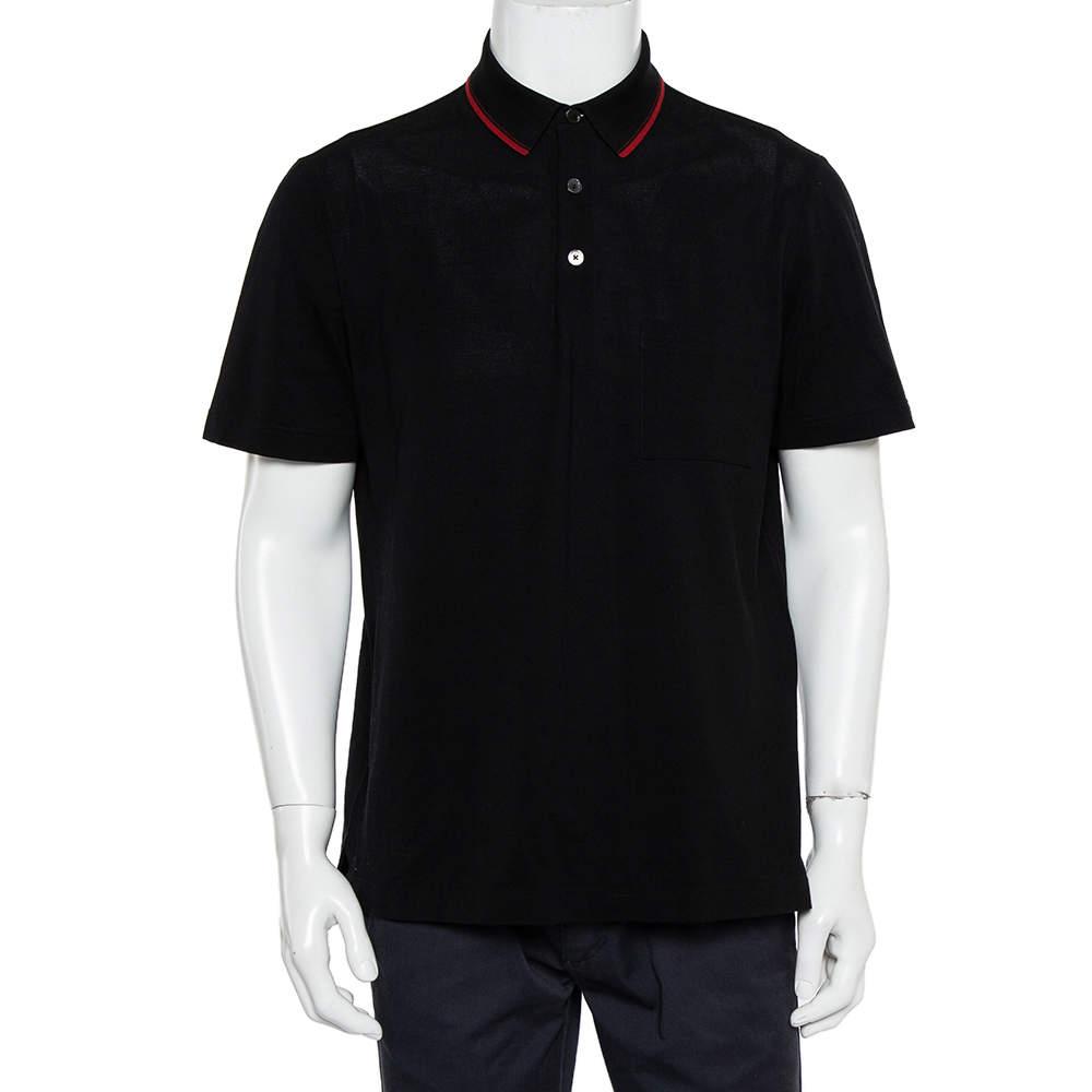 Hermes Black Cotton Pique Logo Embroidered Polo T-Shirt L