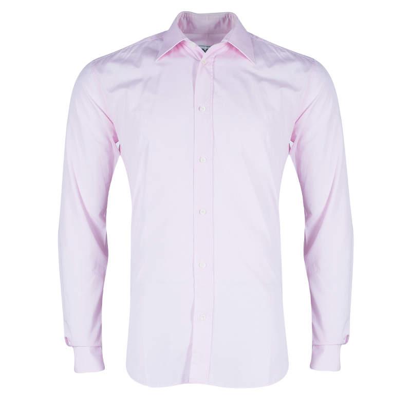 Hermes Men's Pink Straight Fit Poplin Shirt S