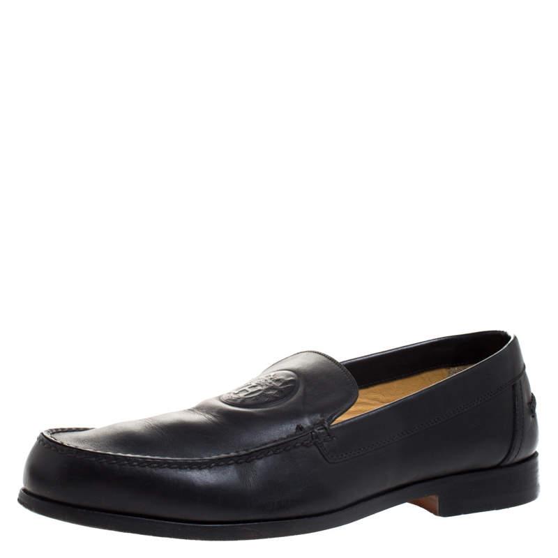 حذاء لوفرز هيرمس سليب اون جلد نقش شعار أسود مقاس 41