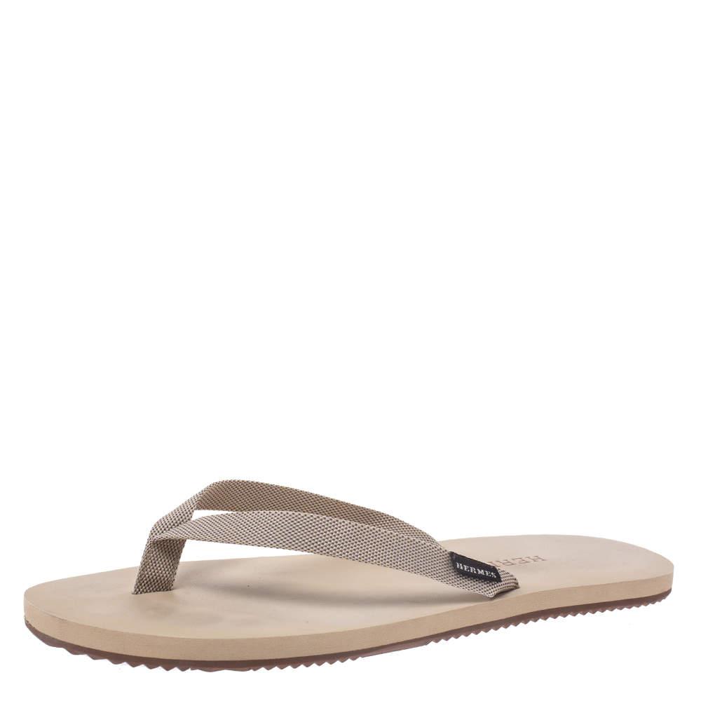 Hermes Cream/Brown Technical Fabric Isolella Flip Flop Sandals Size 42