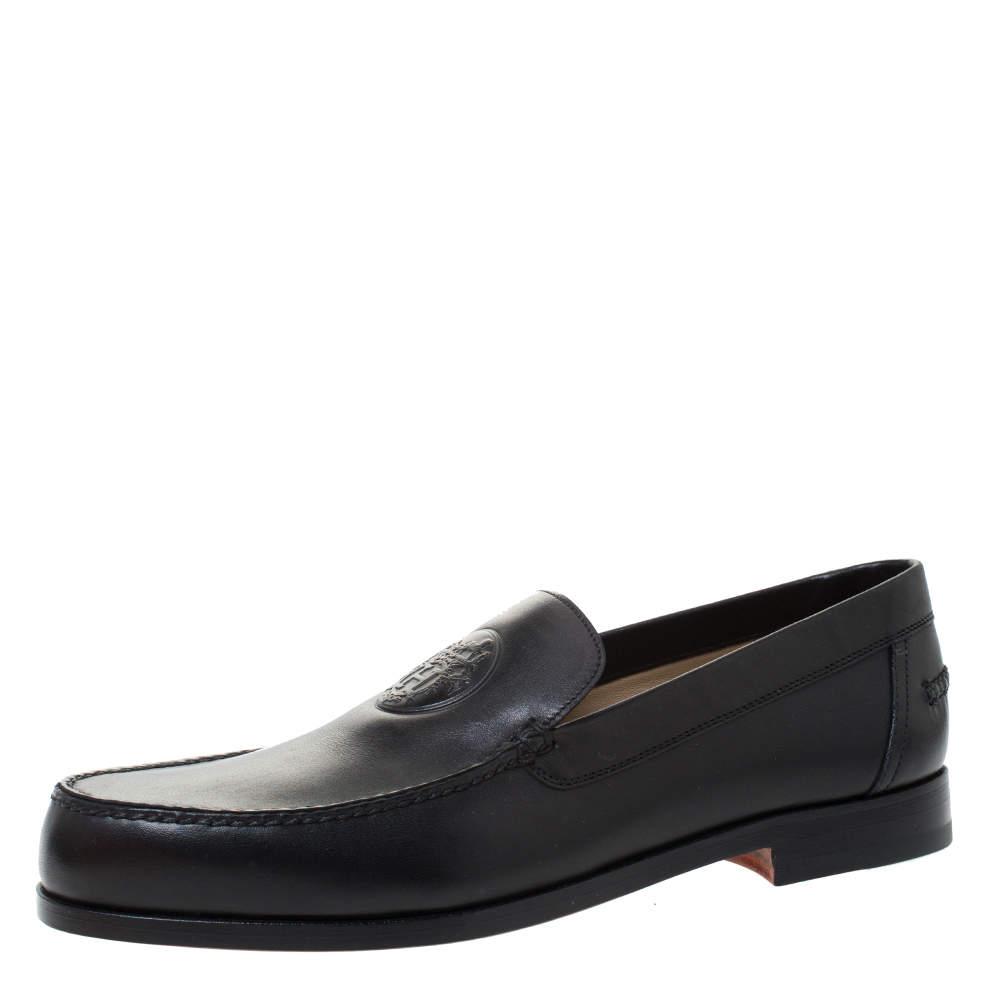 Hermes Black Logo Embossed Leather Slip On Loafers Size 41.5