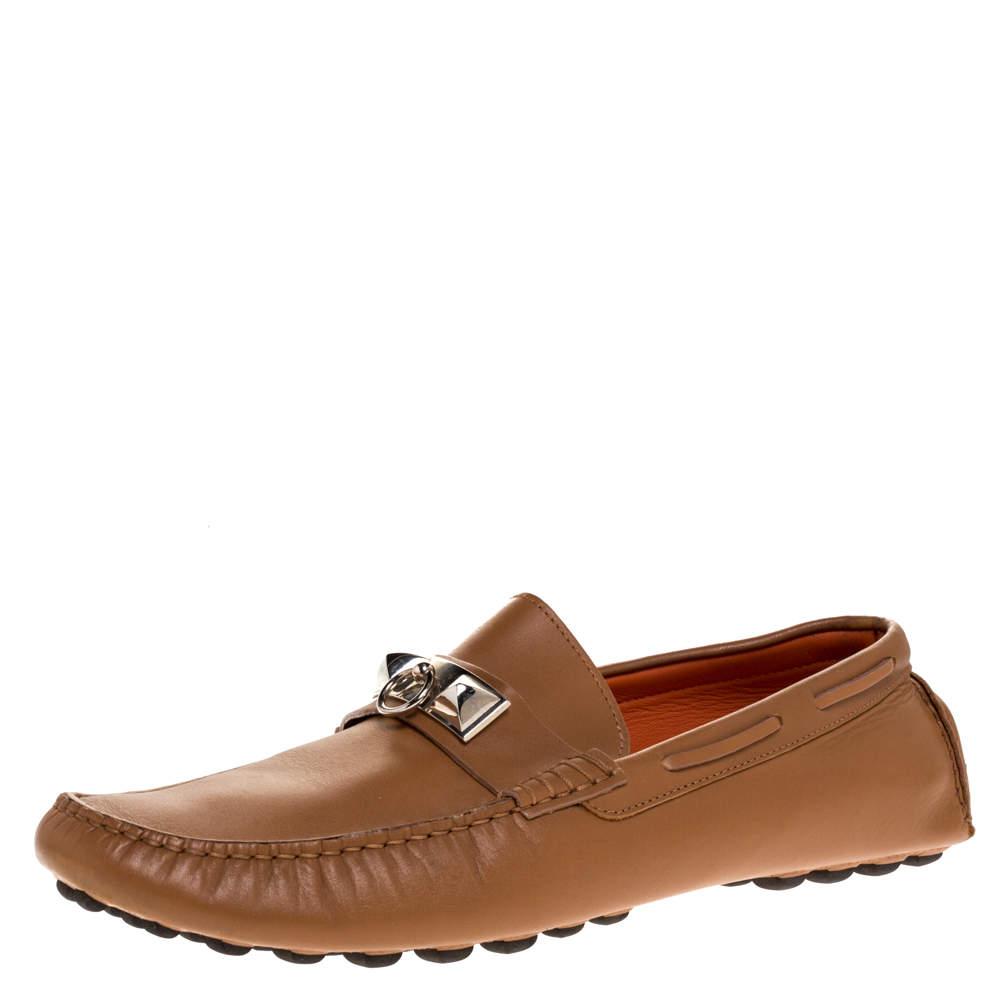 حذاء هيرمس ايرفينغ جلد بني مقاس 42.5
