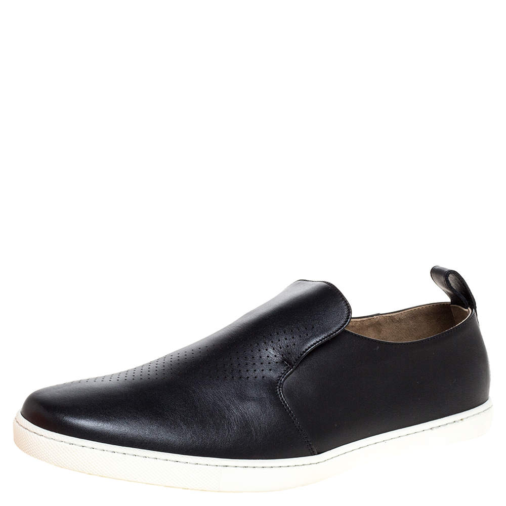 Hermes Black Perforated Leather Slip On Sneakers Size 44