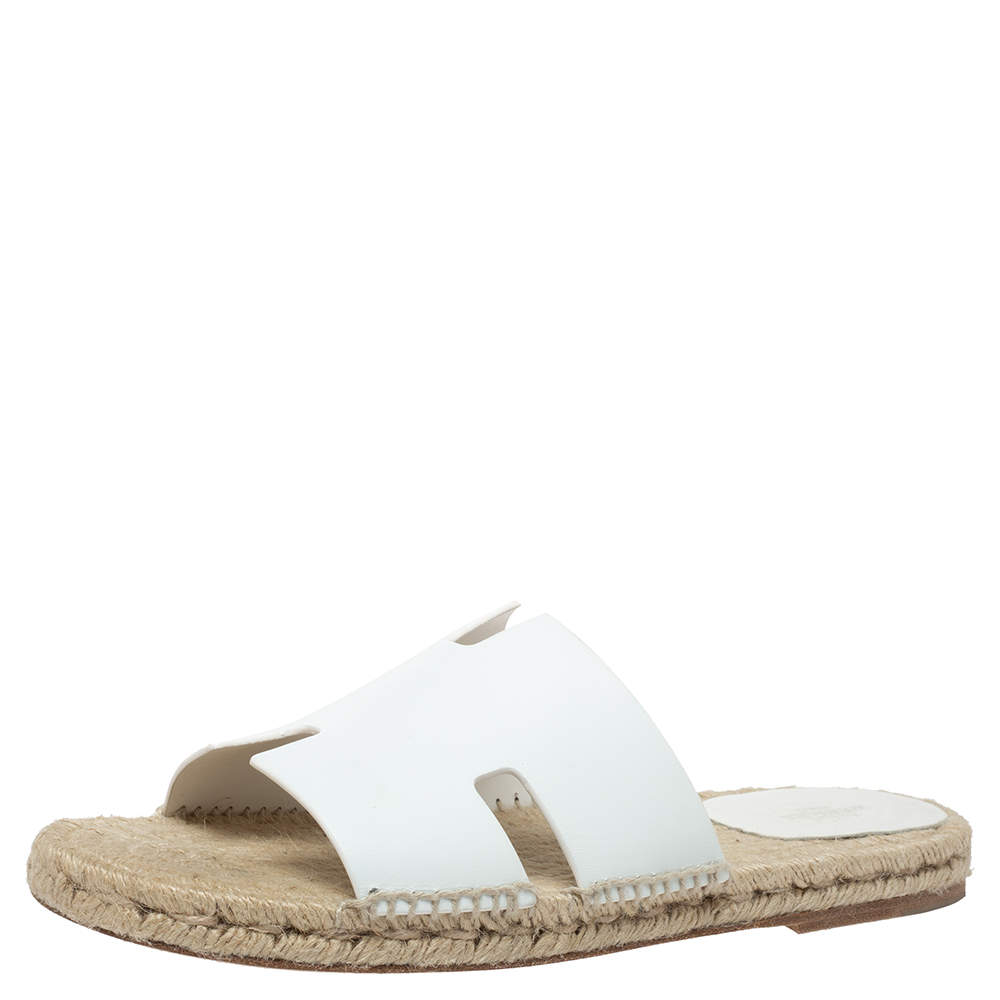 Hermes White Antigua Espadrille Sandals Size 42