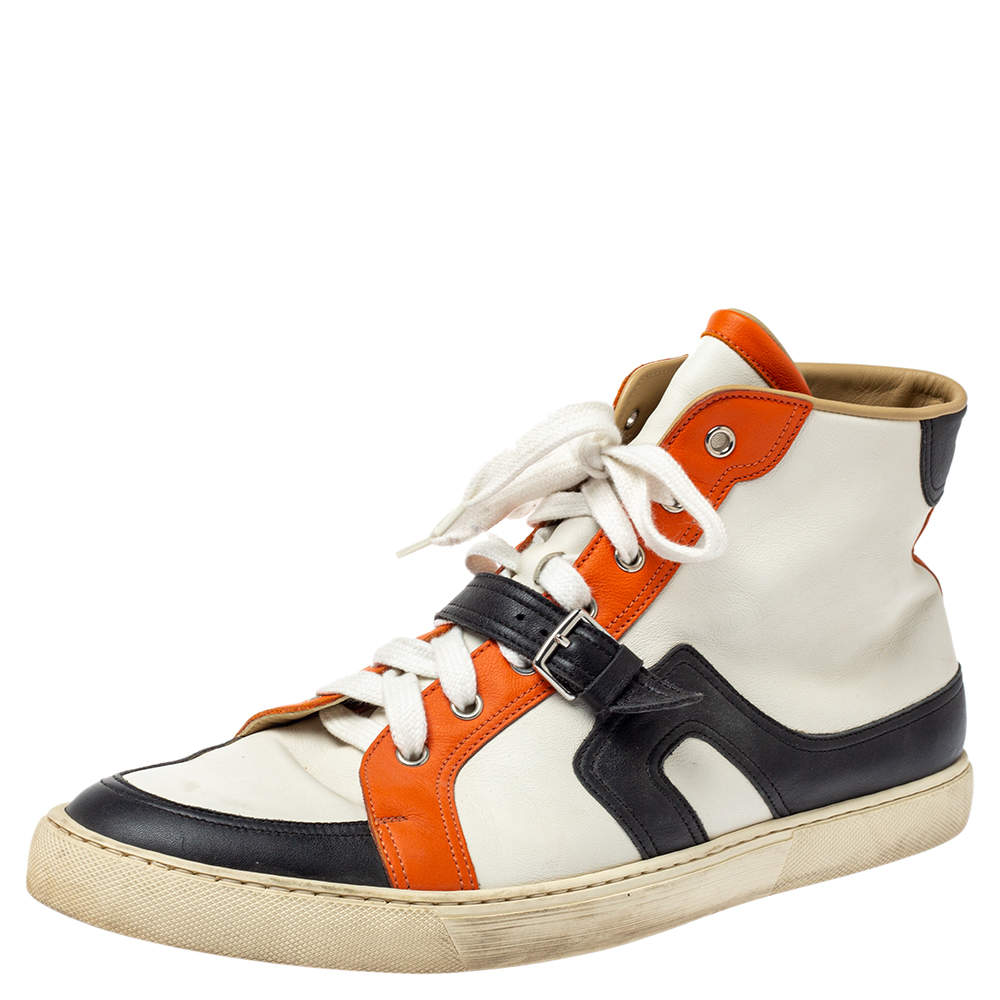 Hermes Tri Color Leather Quantum High Top Sneakers Size 45