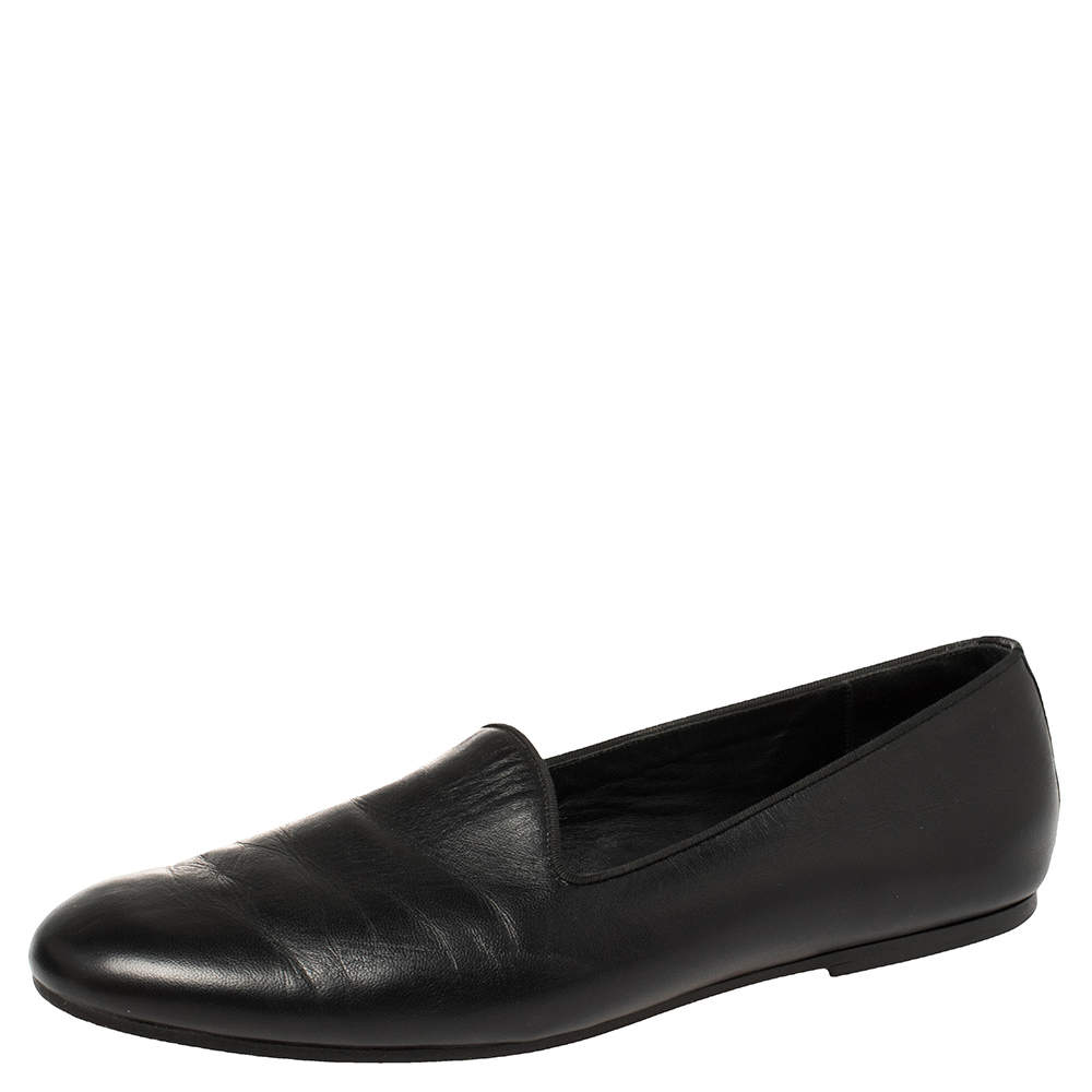 Hermes Black Leather Smoking Slippers Size 43