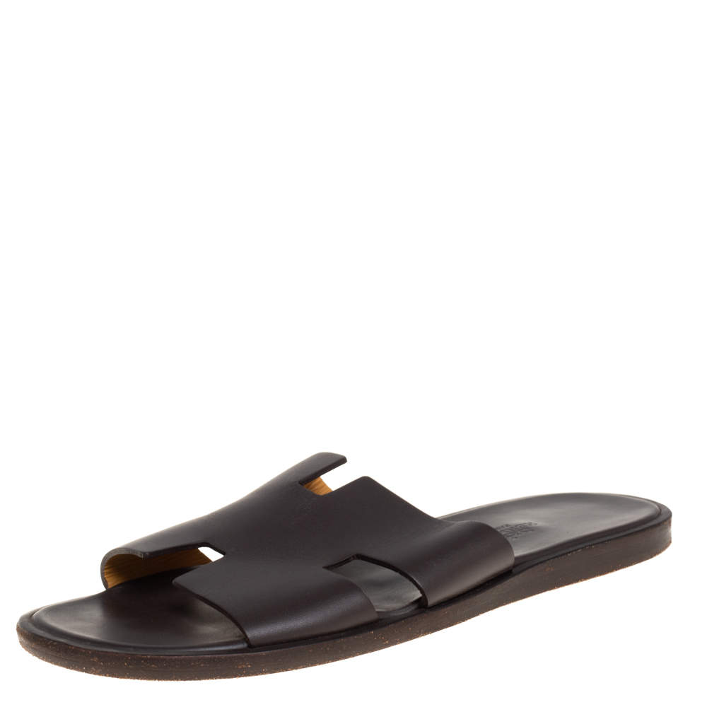Hermes Dark Brown Leather Izmir Flat Sandals Size 40.5