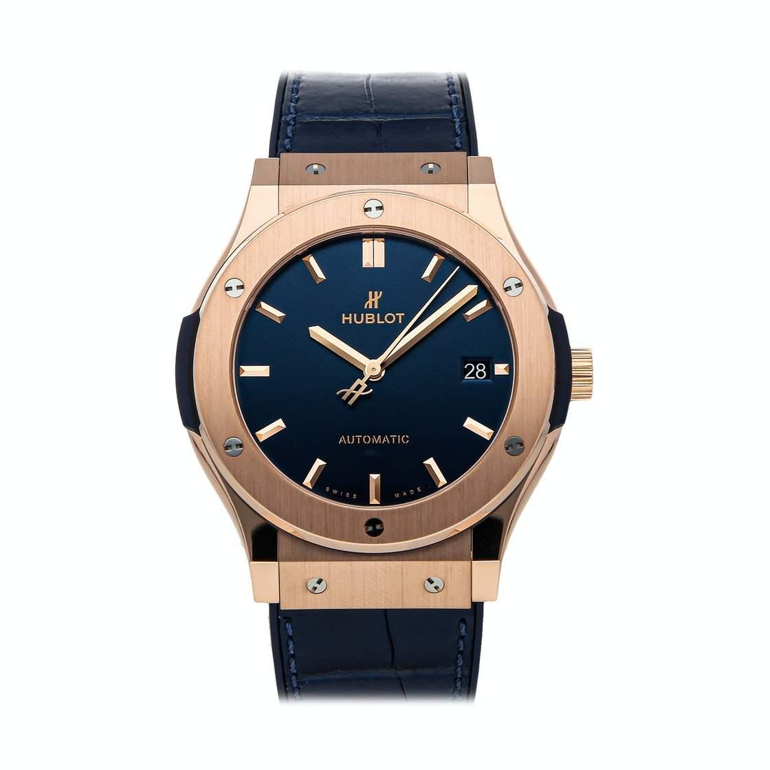 Hublot Blue 18K Rose Gold Classic Fusion Blue King Gold 511.OX.7180.LR Men's Wristwatch 45 MM