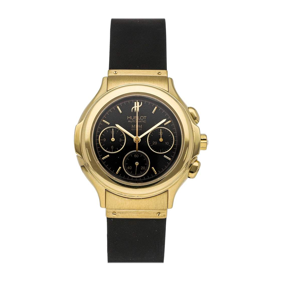 Hublot Black 18K Yellow Gold MDM Chronograph 1610.110.3 Men's Wristwatch 37 MM
