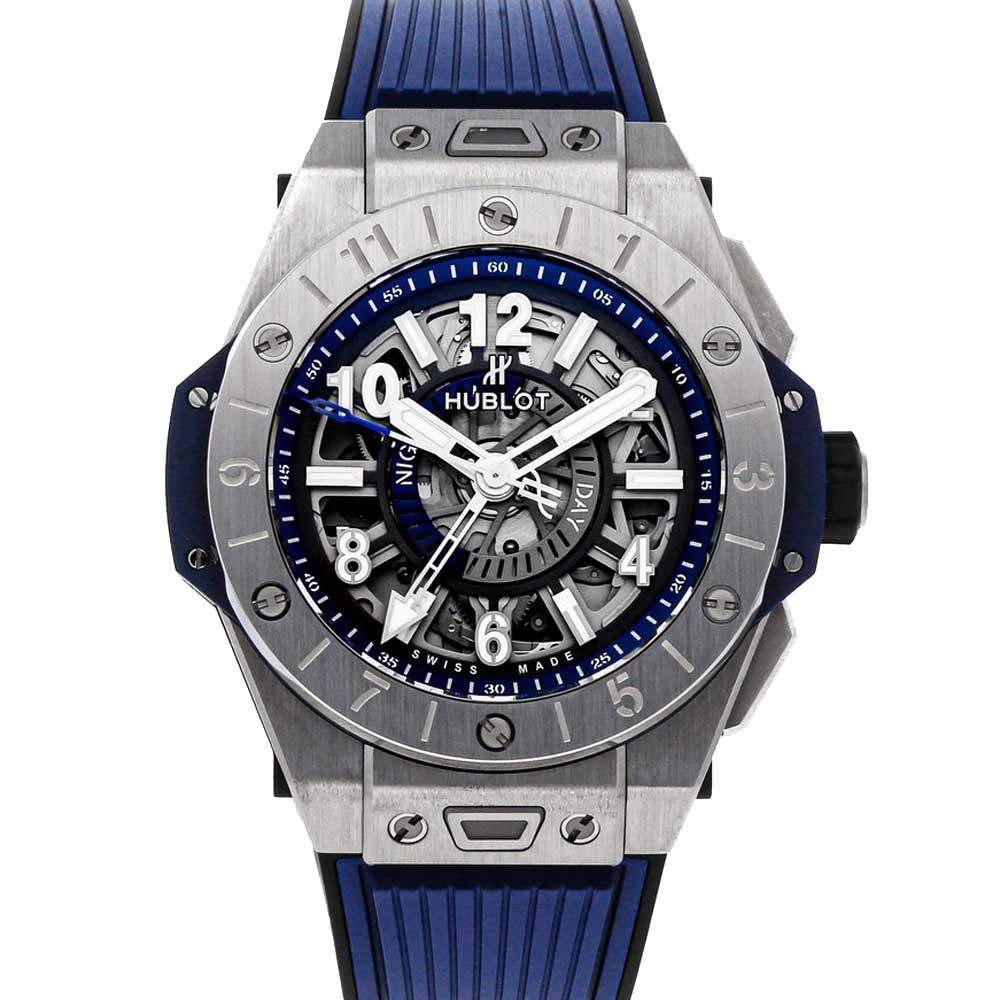 Hublot Silver Titanium Big Bang Unico GMT 471.NX.7112.RX Men's Wristwatch 45 MM