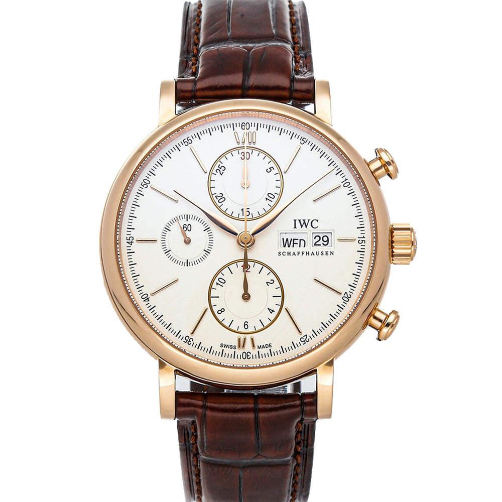 IWC Silver 18k Rose Gold Portofino Chronograph IW3910-25 Men's Wristwatch 42 MM