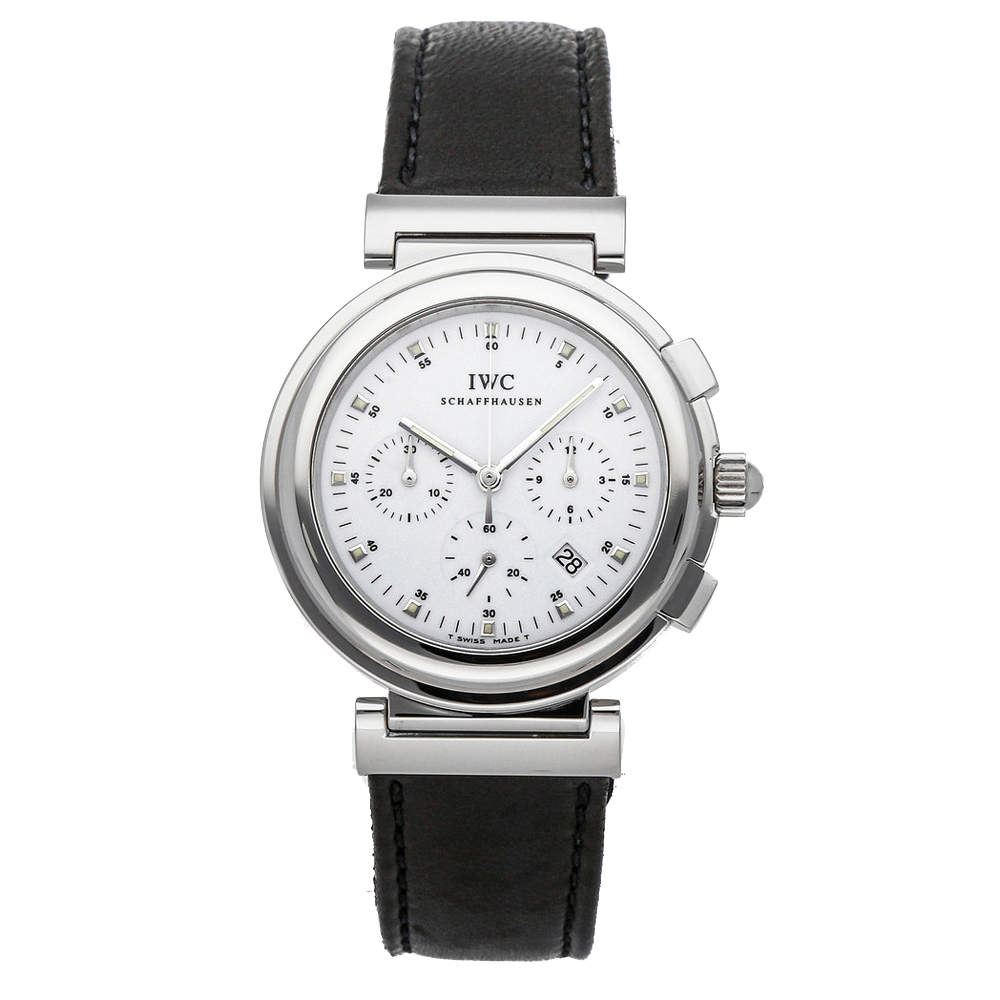 IWC White Stainless Steel Da Vinci Chronograph IW3728-01 Men's Wristwatch 37 MM