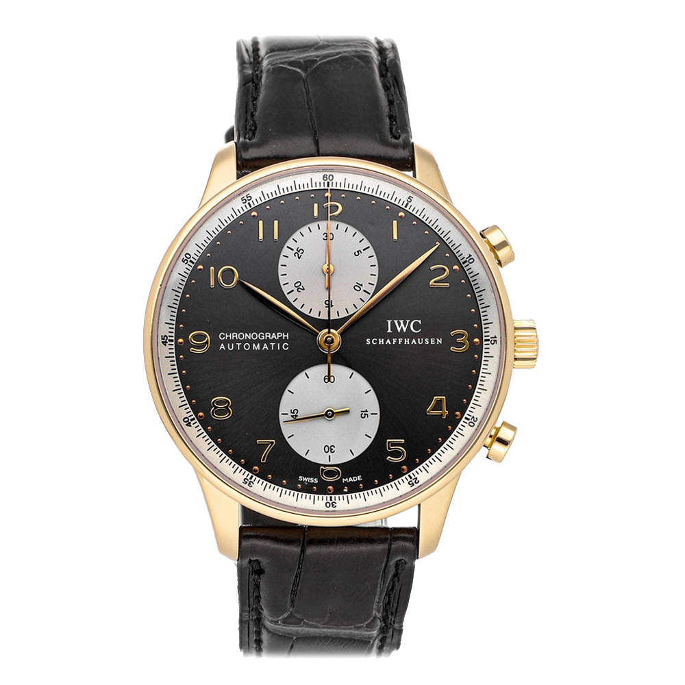 IWC Gray 18K Rose Gold Portugieser Chronograph Jackie Chan Charitable Foundation IW3714-33 Men's Wristwatch 41 MM
