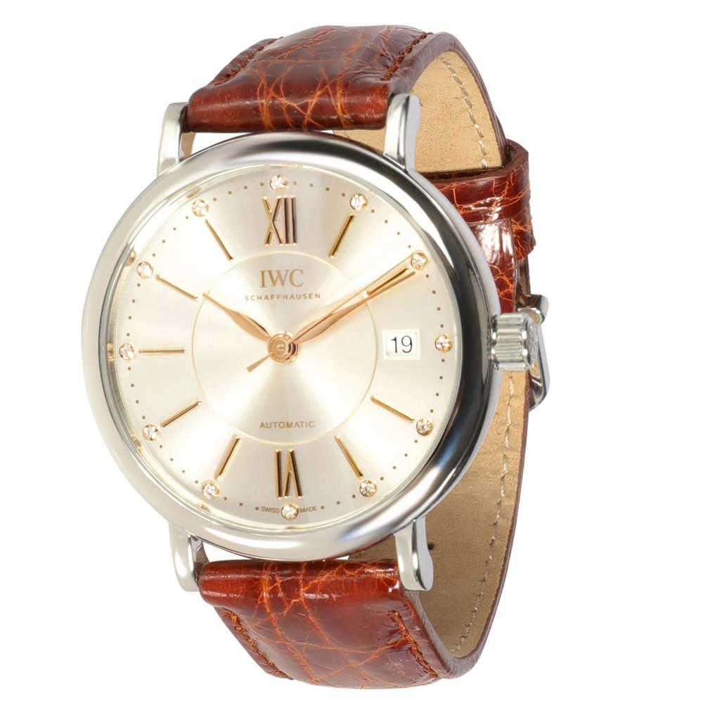 IWC Silver Diamonds Stainless Steel Portofino IW458101 Men's Wristwatch 37 MM