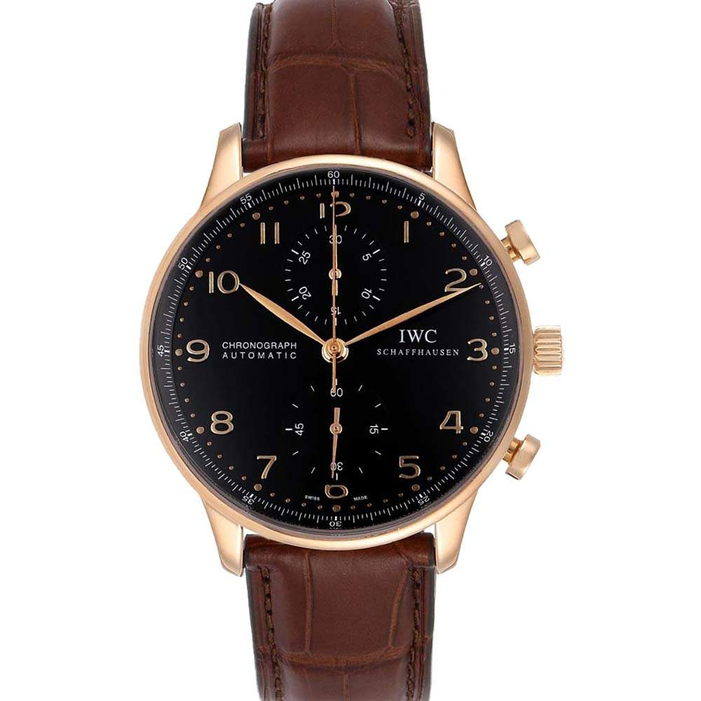 IWC Black 18K Rose Gold Portuguese Chrono Automatic IW371482 Men's Wristwatch 41 MM