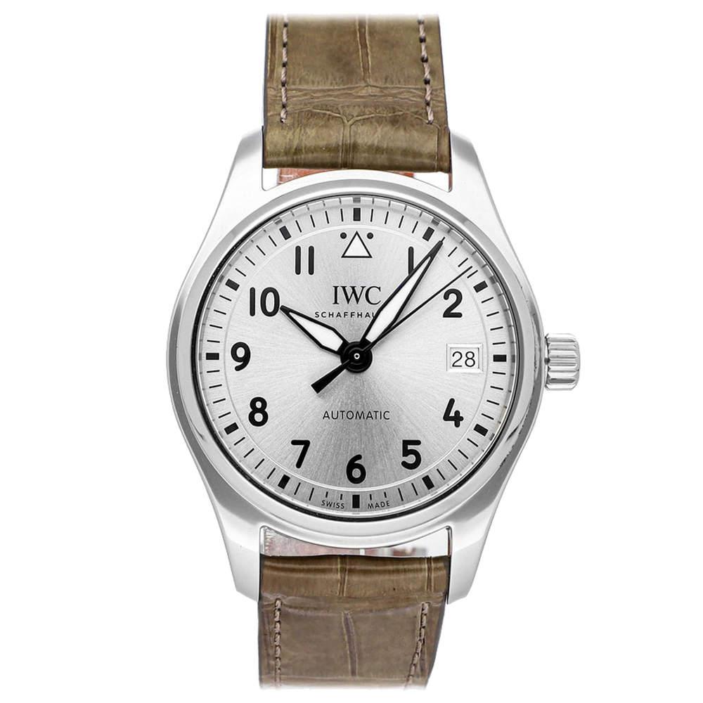 IWC Silver Stainless Steel Pilot IW3240-07 Men's Wristwatch 36 MM