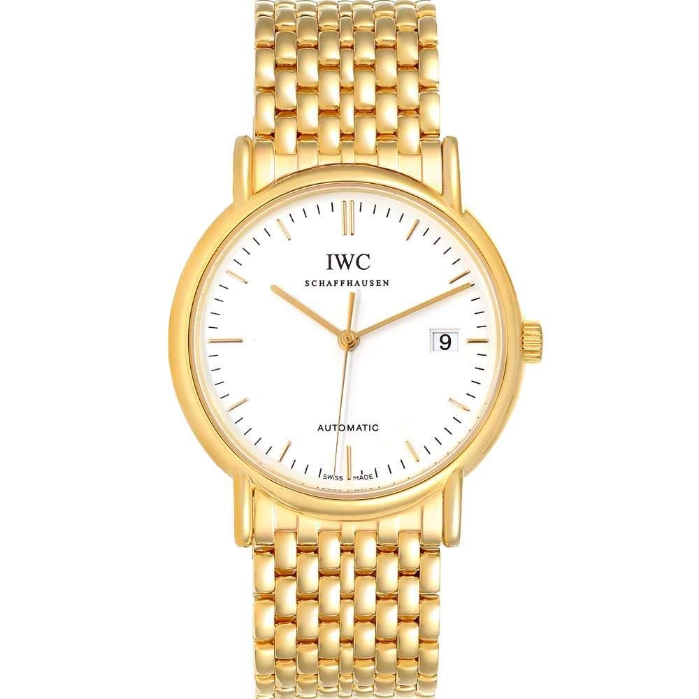 IWC White 18k Yellow Gold Portofino IW925101 Men's Wristwatch 37 MM