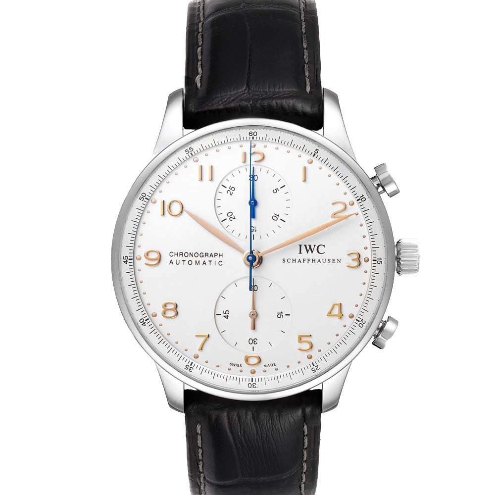 IWC Silver Stainless Steel Portuguese Chronograph Automatic IW371604 Men's Wristwatch 41 MM