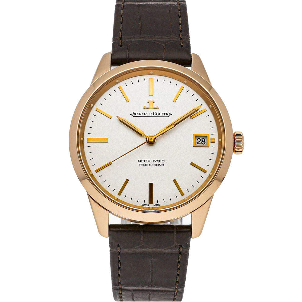 Jaeger LeCoultre Silver 18K Rose Gold Geophysic True Second Q8012520 Men's Wristwatch 39 MM