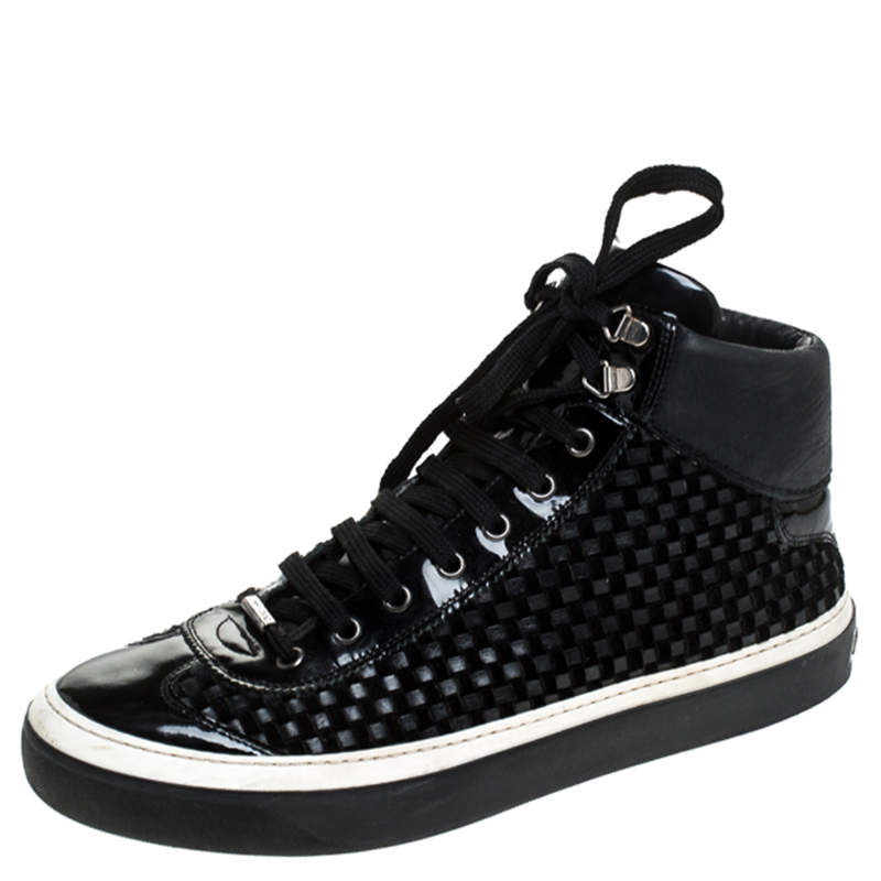 Jimmy Choo Black Woven Leather Argyle