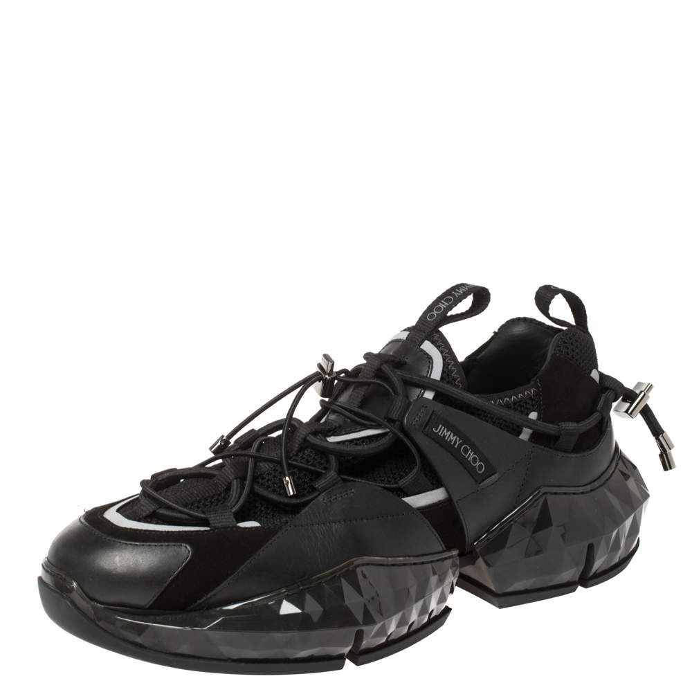 Jimmy Choo Black Leather/Suede and Mesh Diamond Trial Sneakers Size 43.5