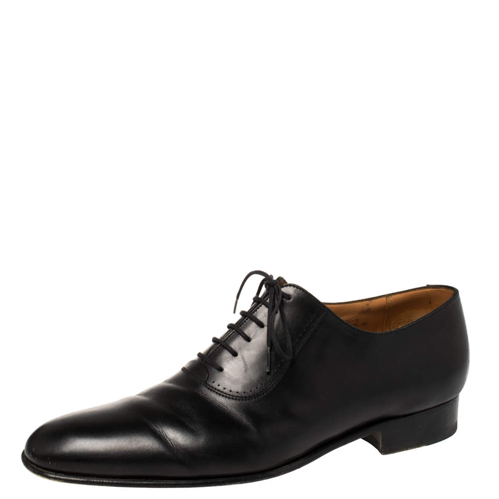 J.M.Weston Black Leather Lace Up Oxfords Size 43