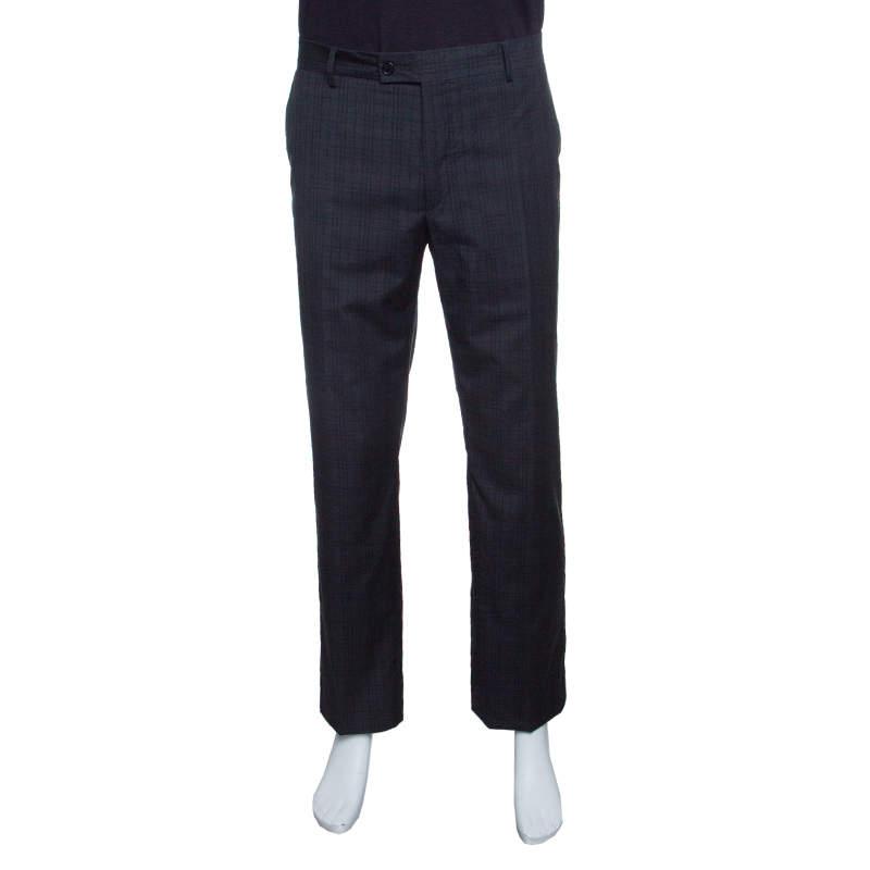 John Varvatos Grey Checkered Wool Trousers XL