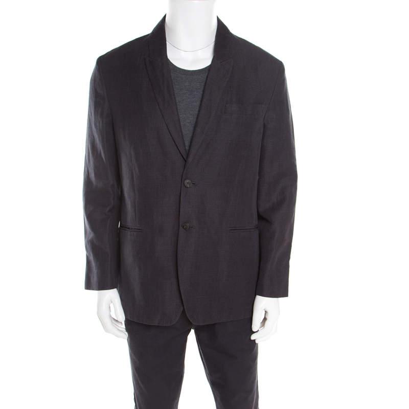 John Varvatos Dark Grey Houndstooth Patterned Linen Cotton Blazer XL