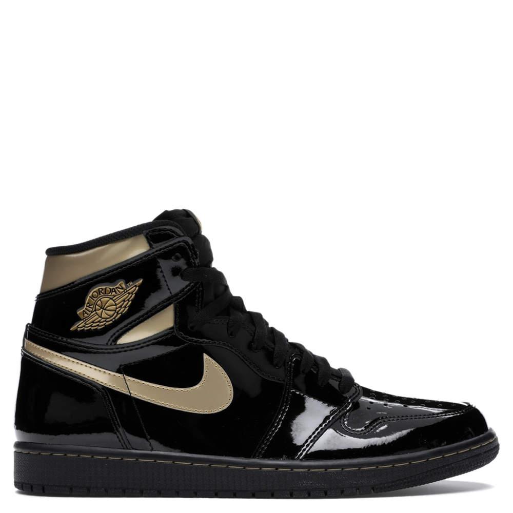 Nike Jordan 1 High Black Metallic Gold Sneakers Size EU 41 US 8