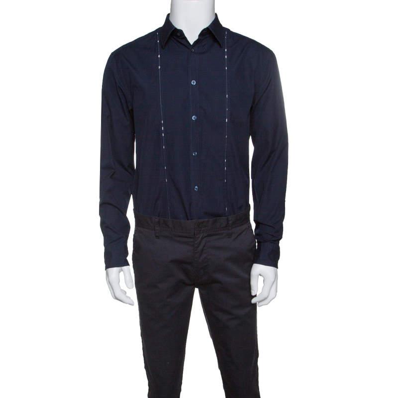 Kenzo Navy Blue Cotton Contrast Stripe Detail Slim Fit Shirt XL