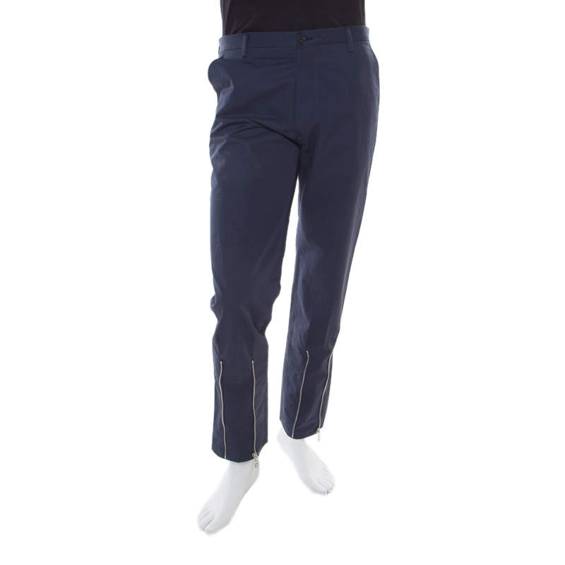 Kenzo Marine Blue Extrafine Cotton Blend Ankle Zip Detail Tech Trousers S