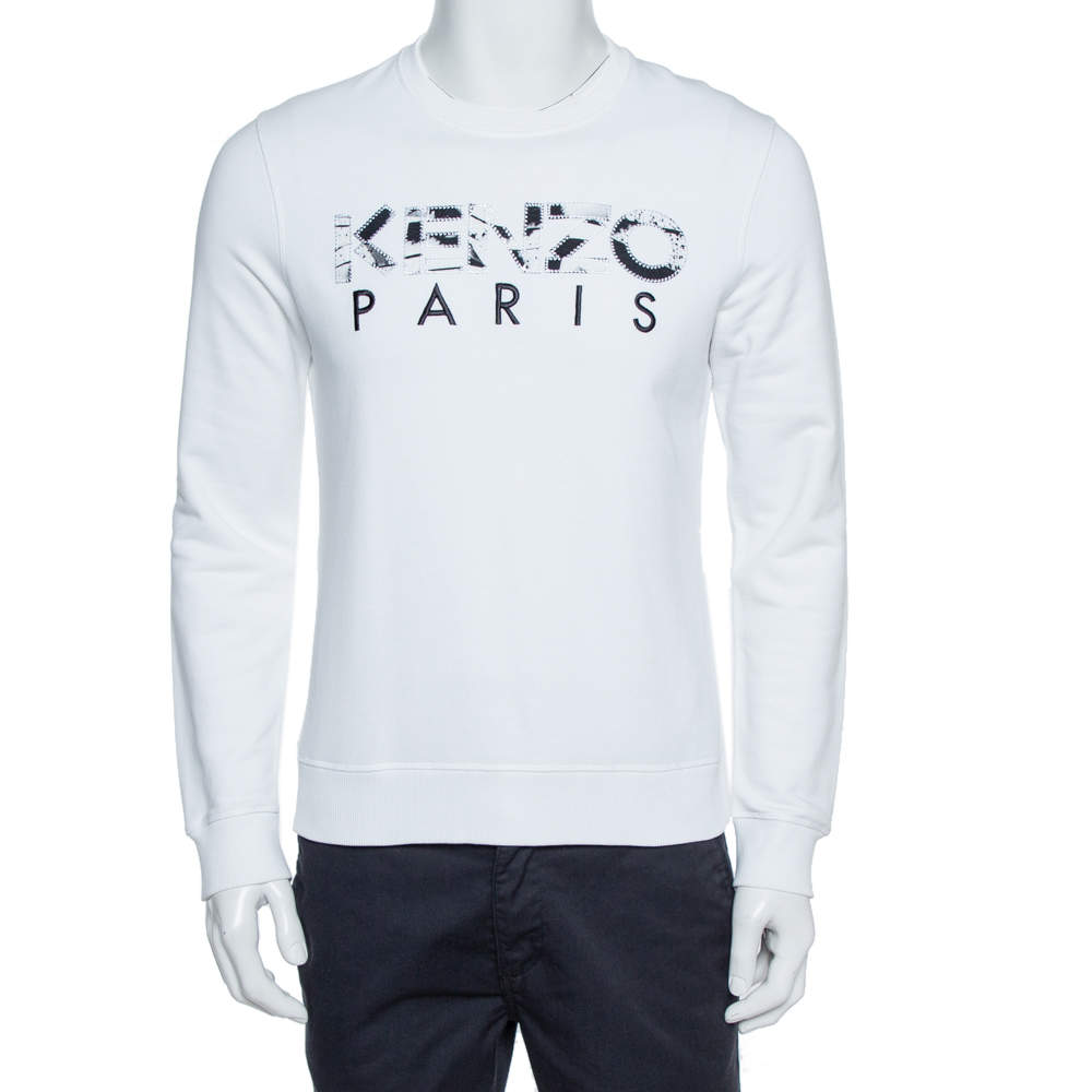 Kenzo White Cotton Kenzo Paris Embroidered Sweatshirt S