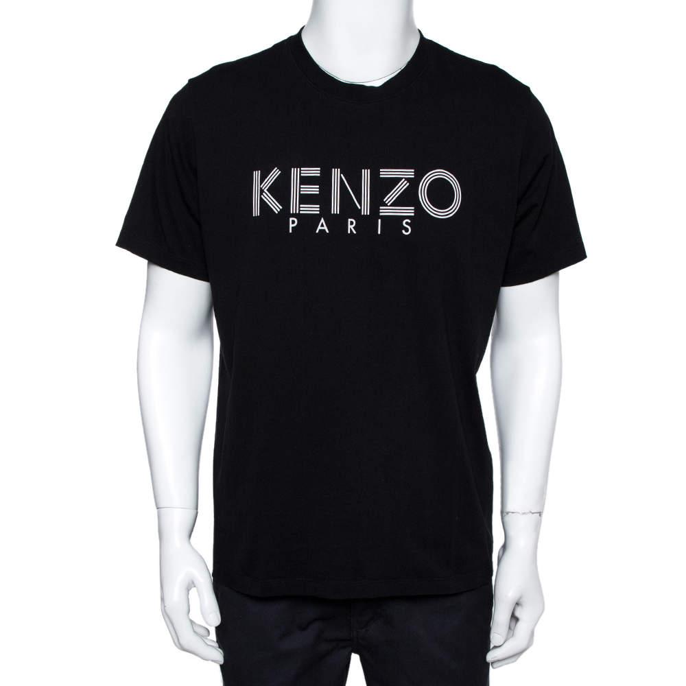 Kenzo Black Logo Print Cotton Crew Neck T-Shirt XL
