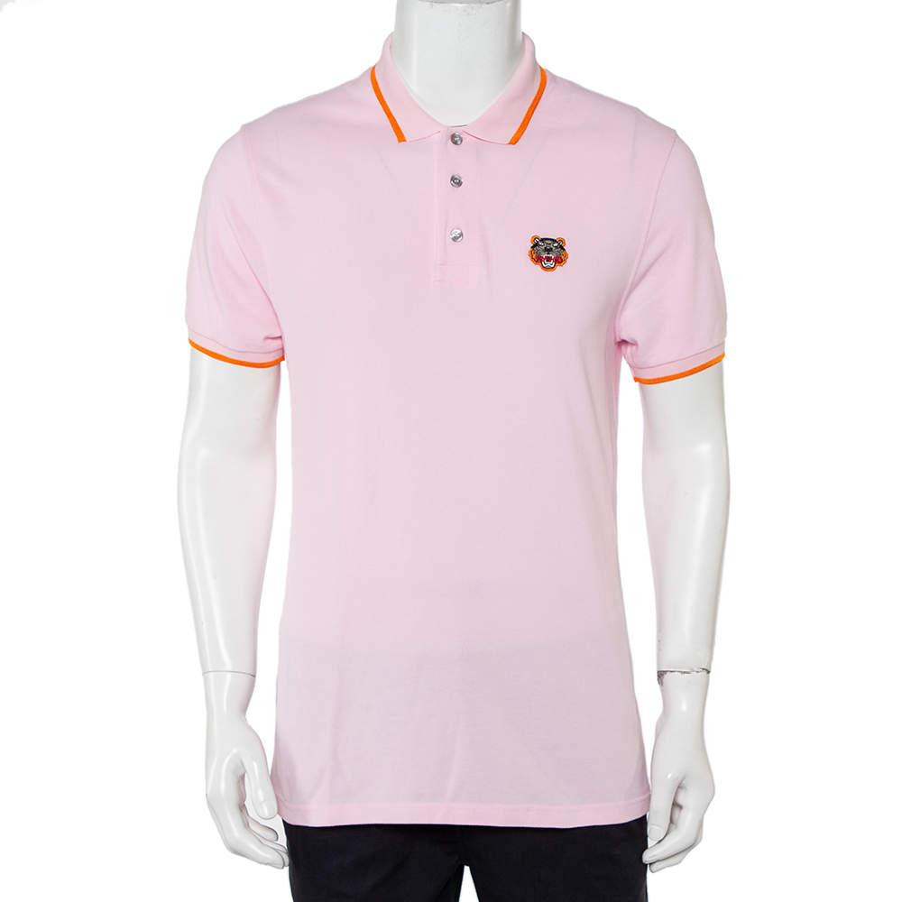 Kenzo Pink Cotton Pique Tiger Patch Detail Polo T-Shirt M