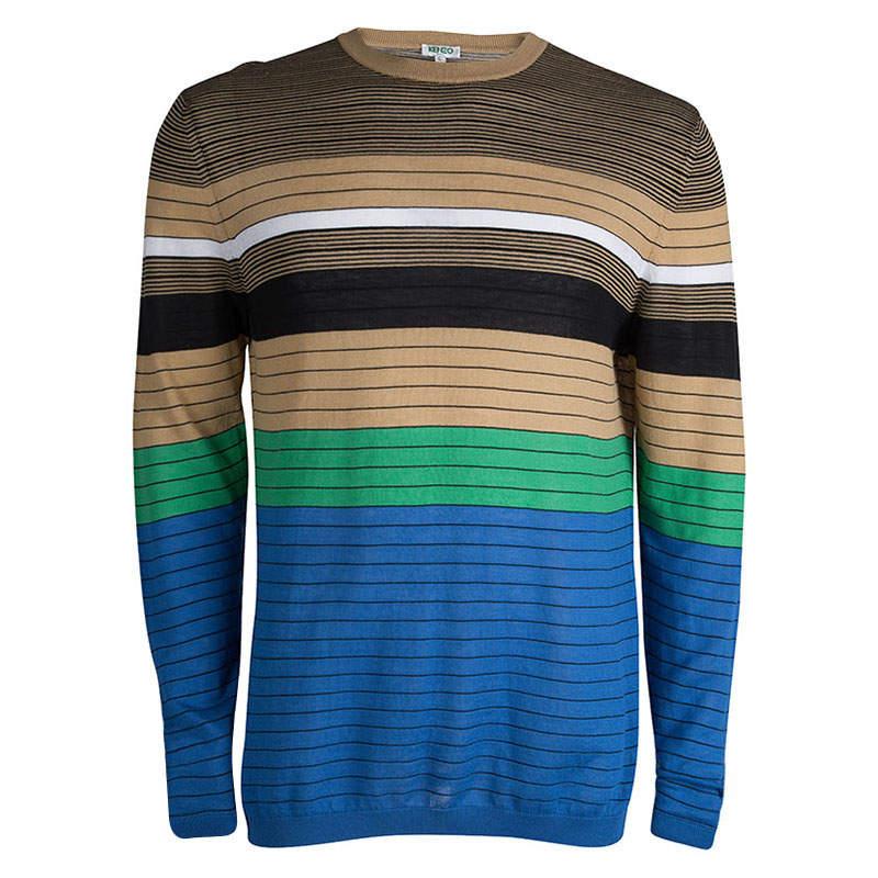 Kenzo Multicolor Striped Crew Neck Sweater L