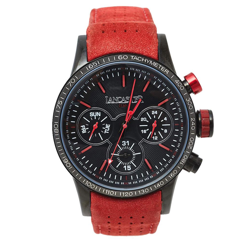 Lancaster Black PVD Stainless Steel Leather OLA-EK2014 Men's Wristwatch 45 mm